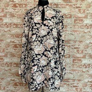 Wild Pearl Floral Print Long Sleeve Shift Dress